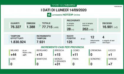 Coronavirus, meno tamponi e meno casi: 125 in Lombardia, 1 a Lecco e 13 a Bergamo