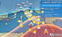 Il meteo divide l'Italia: piogge e temporali al Centronord, caldo al Sud   PREVISIONI METEO
