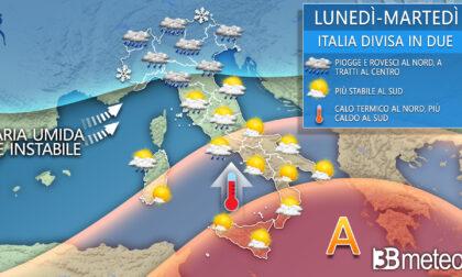 Il meteo divide l'Italia: piogge e temporali al Centronord, caldo al Sud | PREVISIONI METEO