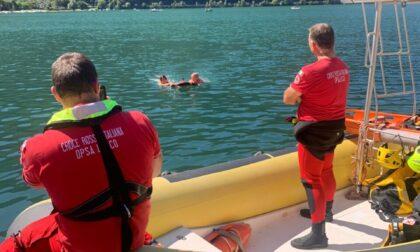 Opsa, prove tecniche di salvataggio con drone nelle acque di Piona